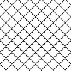 Black and white arabic traditional geometric quatrefoil seamless pattern, vector