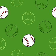 Baseball sport ball graphic art green background seamless pattern illustration vector