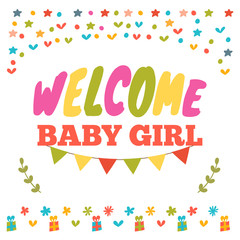 Baby girl shower card. Welcome baby girl. Baby girl arrival post