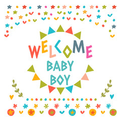 Welcome baby boy shower card. Cute postcard with decorative elem