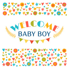 Welcome baby boy. Baby boy shower card. Announcement card. Baby