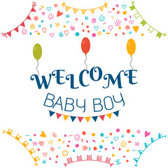 Welcome baby boy. Baby shower greeting card. Cute baby boy showe