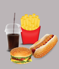 fast food, fries, hamburger, hot dog and soda for your design