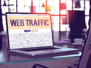 Web Traffic Concept. Closeup Landing Page on Laptop Screen in Doodle Design Style. On Background of Comfortable Working Place in Modern Office. Blurred, Toned Image. 3D Render.