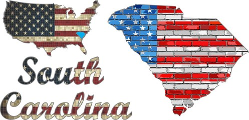 USA state of  South Carolina on a brick wall - Illustration,