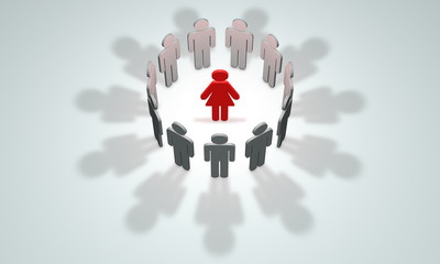 Women-leader (symbolic figures of people). 3D illustration rende