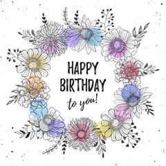 Birthday greeting card with flowers hand drawn black on white background. Decorative doodle frame from flowers and watercolor dots. Happy birthday concept.