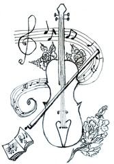 Violin with Notes Sketch