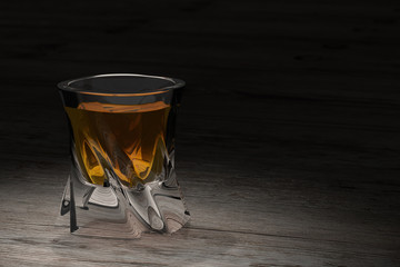 Scotch on wooden background with copy-space.