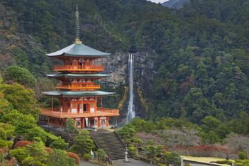 Pagoda and Nachi Falls in the Wakayama Prefecture, Japan