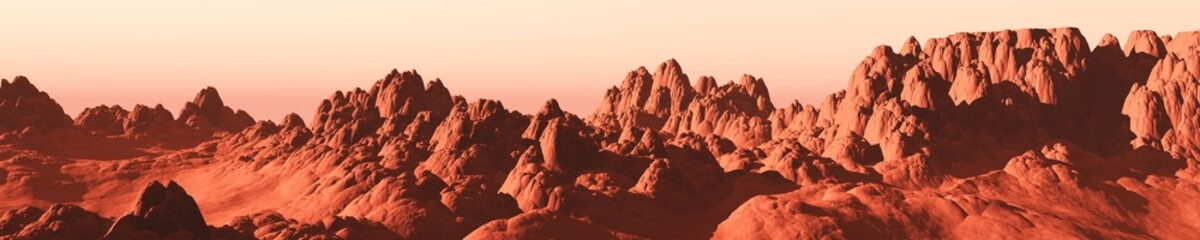 Photo sur Aluminium Brique Martian landscape, a panorama of the red planet