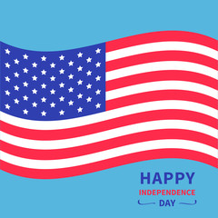 Happy independence day United states of America. 4th of July. Waving American flag. Blue background. Isolated. Flat design.