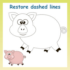 Pig in vector to be traced. Restore dashed line and color the picture. For preschool children.