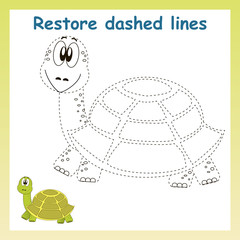 Turtle in vector to be traced. Restore dashed line and color the picture. For preschool children.