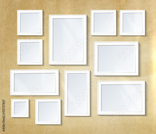 decorative collage photo frame vintage photo frame template on wall