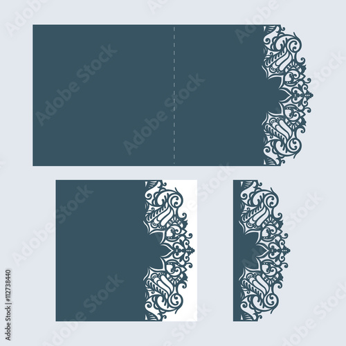 abstract cutout wedding invitation suitable for lasercutting