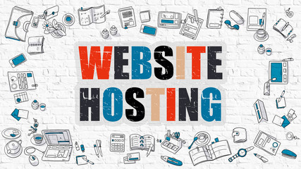 Website Hosting - Multicolor Concept with Doodle Icons Around on White Brick Wall Background. Modern Illustration with Elements of Doodle Design Style.