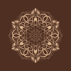 Flower mandala over dark brown