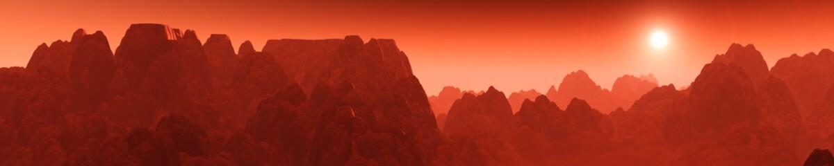 Keuken foto achterwand Rood paars Martian sunrise, sunset on Mars