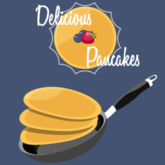 Flying pancakes with butter and maple syrup