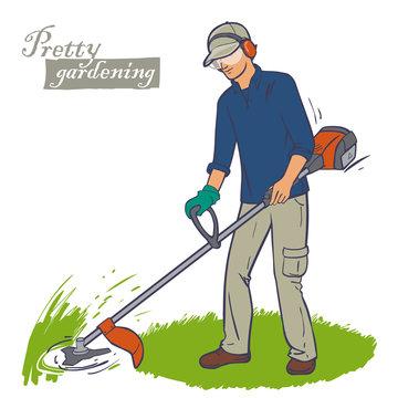 cutting grass  trimmer