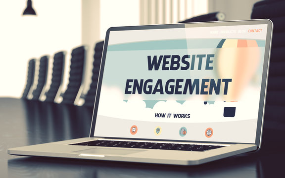 Website Engagement. Closeup Landing Page on Laptop Display. Modern Meeting Room Background. Toned Image with Selective Focus. 3D Render.