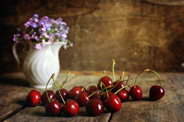 cherry berry on wooden background retro