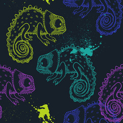 chameleon. vector seamless pattern