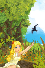 Cartoon fairy tale scene with a young little girl on the meadow waving to the cuckoo bird - near the forest - illustration for children