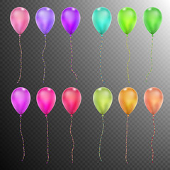 Set of Twelve colorful balloons. EPS 10