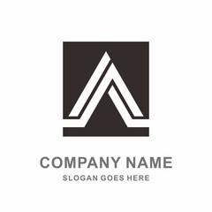 Monogram Letter A Triangle Square Architecture Vector Logo Template