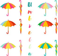 Umbrella, Set of colorful open and closed umbrella
