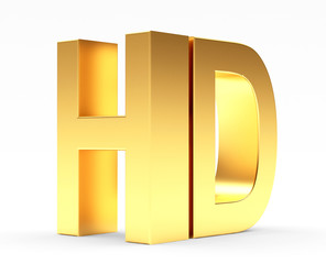 Golden HD TV icon isolated on white background. 3d illustration
