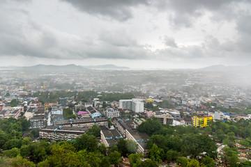 Aerail view Phuket City in rainy day.