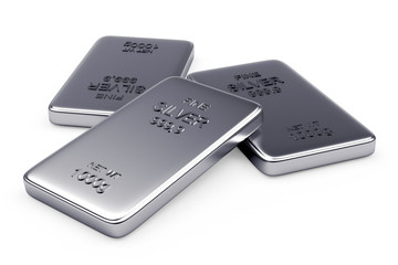 Flat silver bars isolated on a white background. 3d illustration.