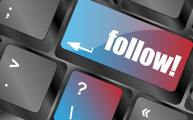 Social media or social network concept: Keyboard with follow button vector . keyboard keys, keyboard button, keyboard icon