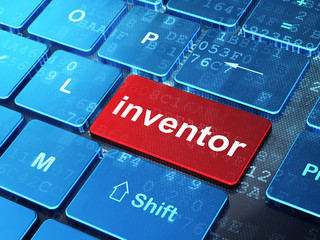 Science concept: Inventor on computer keyboard background