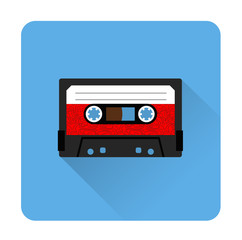 Cassette tape icon flat style. Isolated icon depicting retro technology, music tape cassette. Vintage cassette tape sign. Flat series, blue.