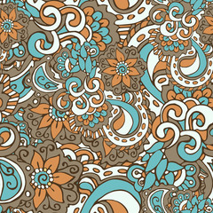 Bright seamless pattern in doodle style, colored in blue, brown, pale and white pastel shades. Hand-drawn elegant vector ornament.
