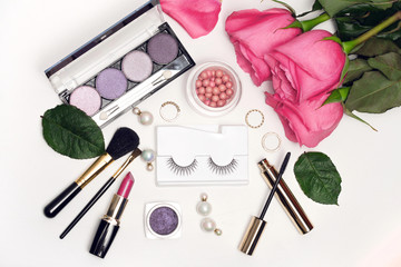 Wall Mural - Beautiful set of decorative cosmetics for make up