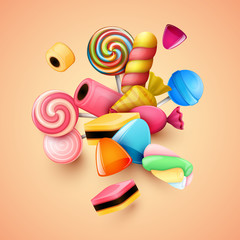 Abstract background with candies.
