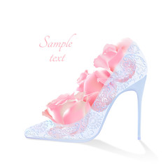 Realistic vector flowers and shoes with heels