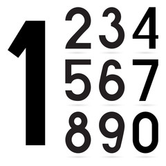Number from 0 to 9 over white background
