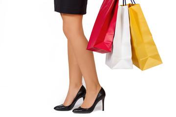 Mujer con bolsas compra