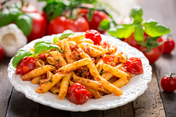 Pasta bolognese on the plate
