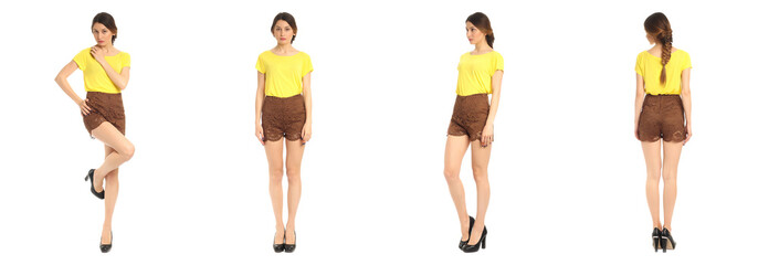 Young and beautiful student in brown shorts isolated