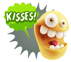 3d Rendering Smile Character Emoticon Expression saying Kisses w