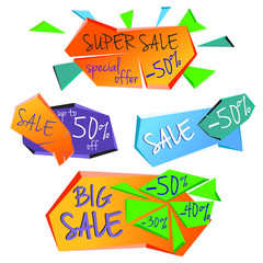 Template, banner or flyers set for Big Sale with attractive discount offers. Brightly colored sale banners in different shapes.Vector illustration. Isolated on white background.
