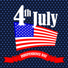 Independence Day of America. American Flag Starry Background.