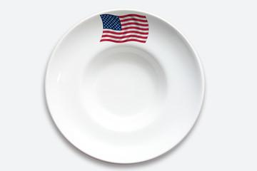 Symbolbild, Länderküche, United States, U.S.A., Teller, weiss,